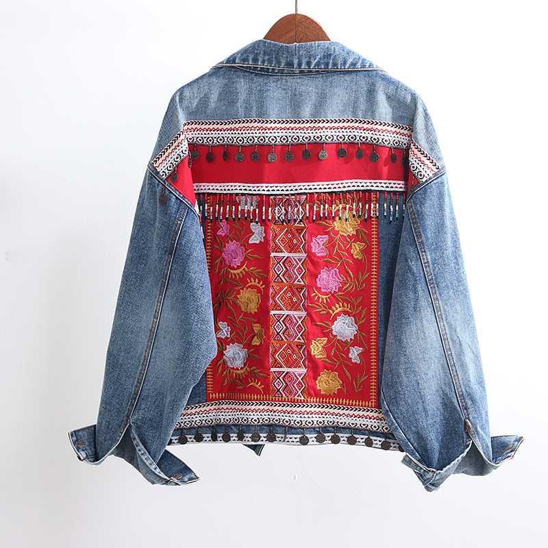 Boho Вышивка Джинсовая Куртка Женщины Кисточкой Патч Верхняя Одежда Старинные Негабаритные Свободные Chaquetas Mujer Джинсовая Куртка Женская Уличная Одежда