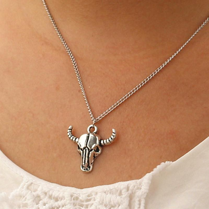 Totem Bison Buffalo Bull Head Skull Necklace