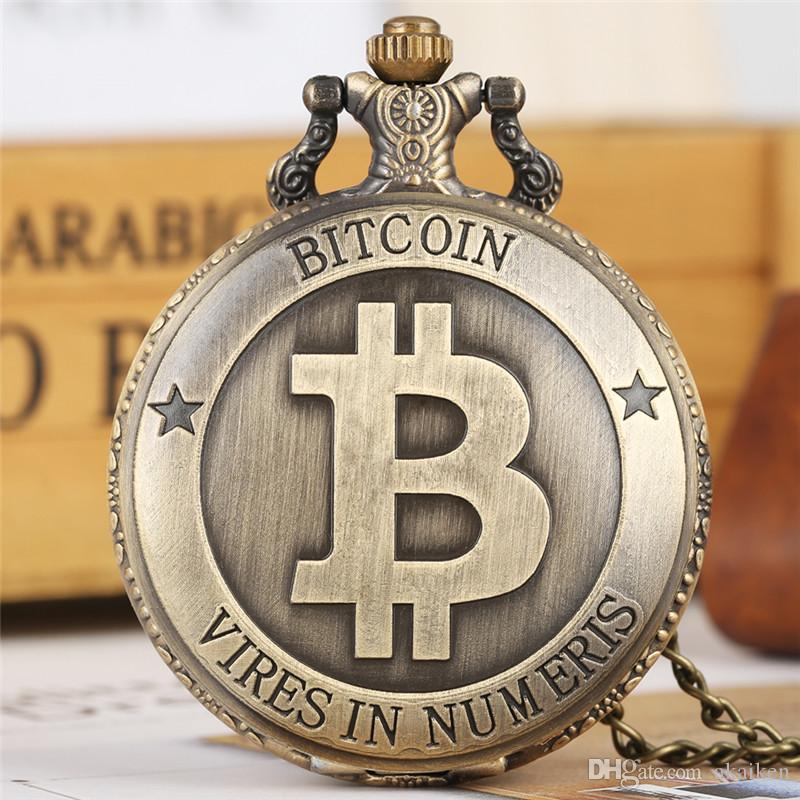 Pantalla de Bitcoin de bronce antiguo Reloj de bolsillo de cuarzo Hunter completo Collar de cadena exquisito Recuerdo Reloj colgante Hombres Mujeres reloj