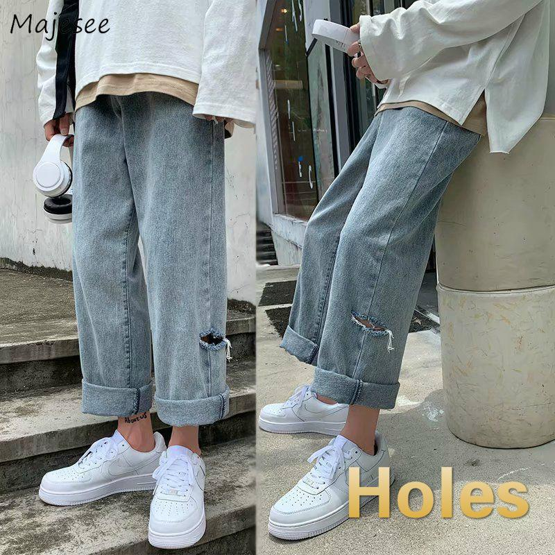 Jeans pour trous cheville longueur Loisirs Washed Chic Streetwear Tout match Denim Mens Pantalon large étudiants solide Harajuku adolescents