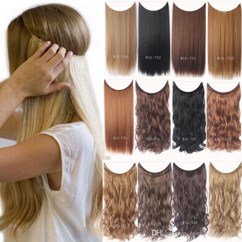 24 дюймов Невидимые Clips провода Нет В Выдвижение волос Secret Fish Line Шиньон шелковистый завитые выдвижения волос