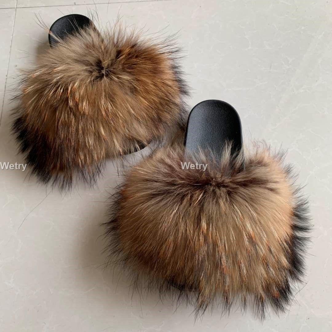 Toptan Yeni stil Gerçek Fox Terlik Raccoon Slaytlar Plaj Terlik tam tilki Terlik luxuryfur Kadın 36 diğ 45
