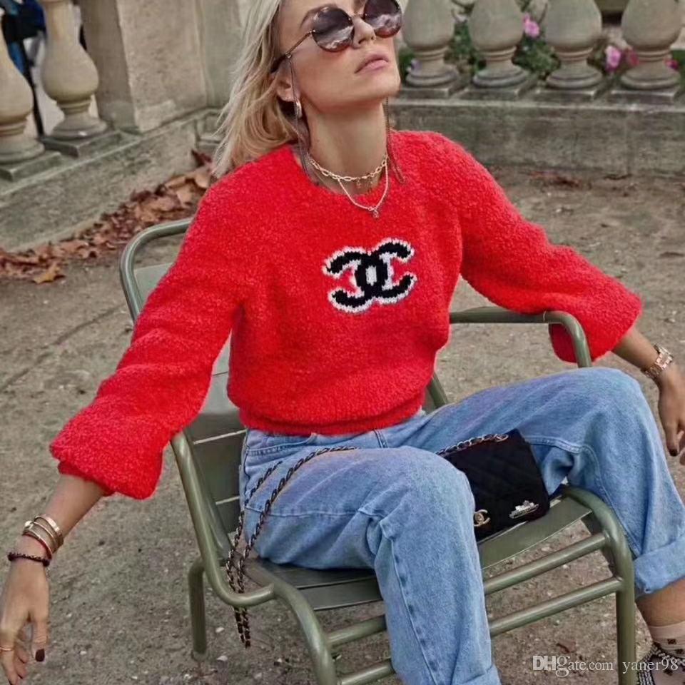 Outono e inverno camisa nova rodada de colarinho das mulheres de manga comprida, tecido moda quente, impresso padrão de letras, confortável e respirável, cas