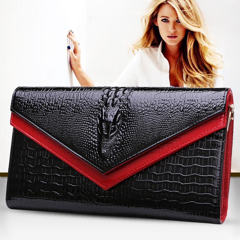 2016 GESUNRY vera pelle del coccodrillo delle donne Shoulder Bag Trendy della frizione delle donne della borsa del raccoglitore Lady Messenger Bag CJ191213