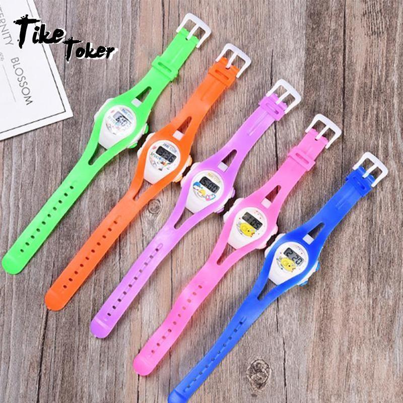 Tike Toker, New Boy девушка Student Sport Time Clock Электронные цифровые наручные часы детские наручные часы кремния Relogio Feminino xQEag