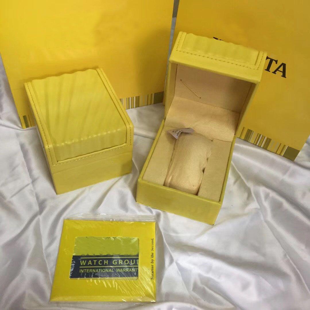 Nuovo stile giallo scatola di cuoio di alta qualità Moda originale IN Orologio di marca Scatole di orologi di lusso Confezione regalo di scatole di gioielli casual