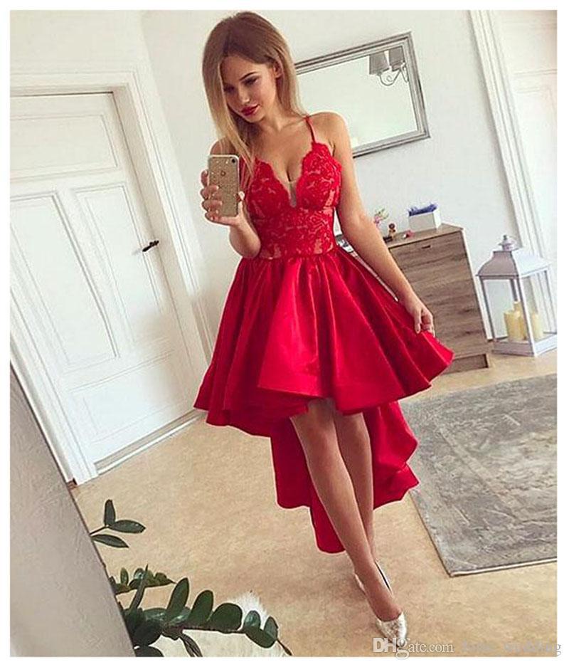 Compre Lorie Rojo Alto Bajo Vestido De Fiesta Para Graduación Satén Corto Vestido De Fiesta De Noche Sin Tirantes Sexy Girl Vestidos De Noche Formales