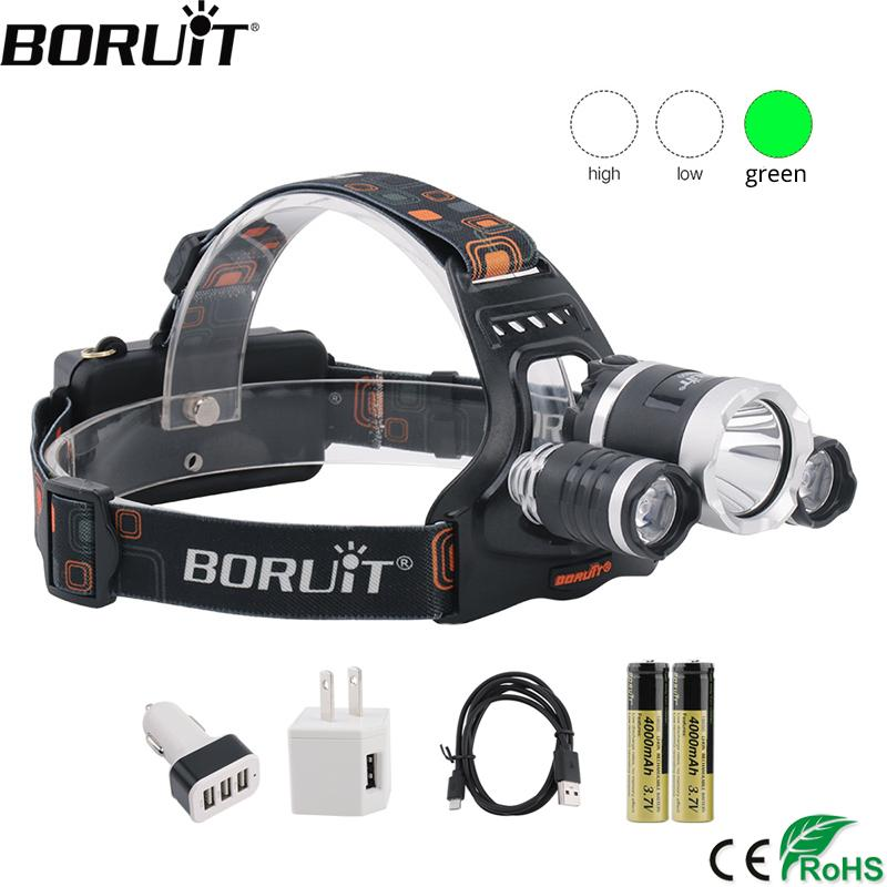 BORUiT T6 White+2*XPE Green LED Headlamp 3-Mode Rehargeable Headlight Waterproof Head Torch Camping by 18650 Battery