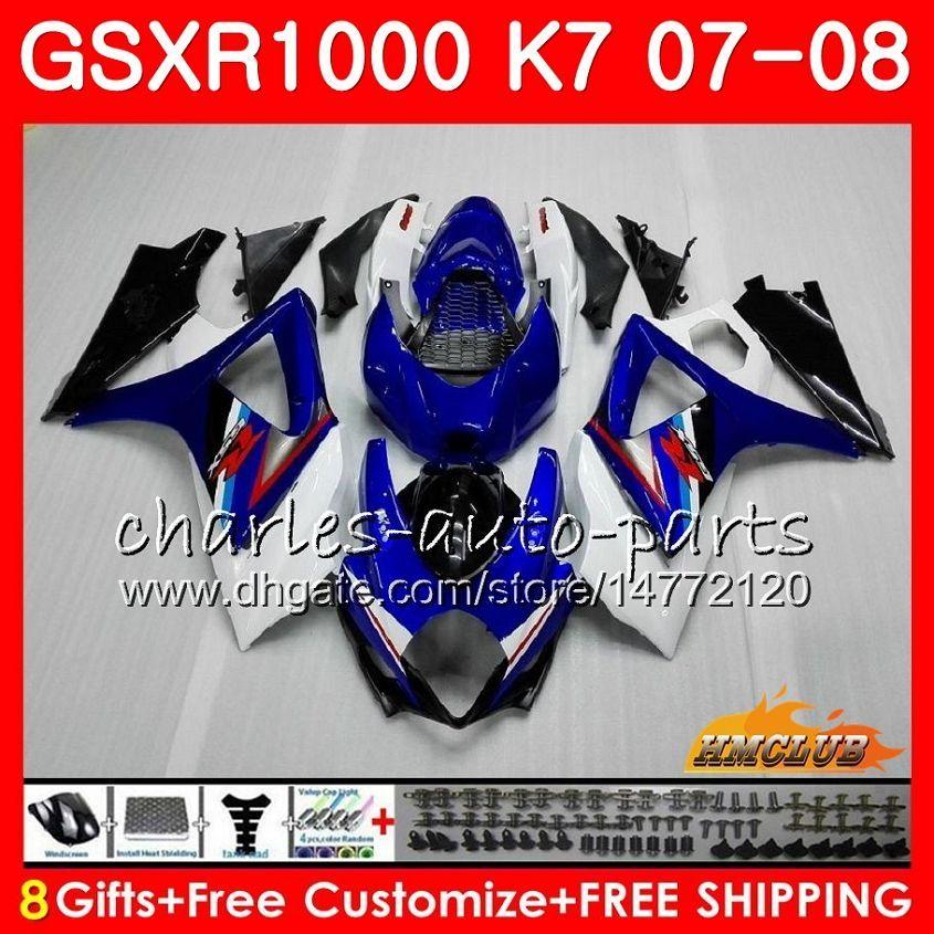 Bodywork para Suzuki GSXR-1000 GSXR1000 2007 2008 07 08 Bodys 12HC.11 GSX R1000 GSX-R1000 K7 GSXR 1000 Azul Branco Stock 07 08 ABS Fairing Kit