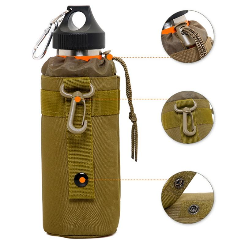 0.5L Portable Water Bottle Pouch Molle Camping Kettle Bags Backpack Vest Belt Travel Cycling Hiking Accessories