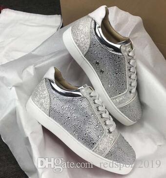 Box ile Ucuz Yeni Moda Marka Kırmızı Alt Tasarımcı Sneakers Paris Satışa Erkekler ve Kadınlar Casual Dikenler, Strass, Deri Açık Trainer Ayakkabı