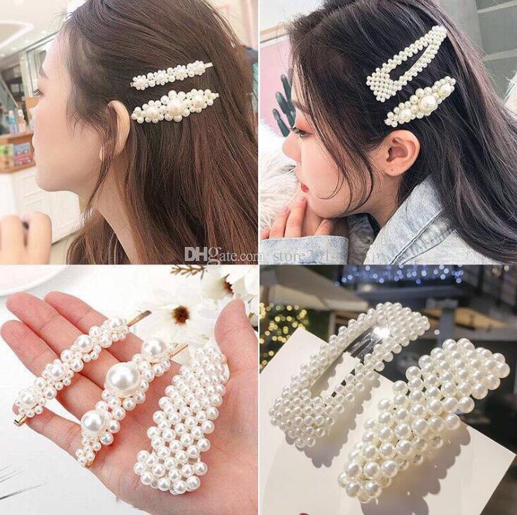 Moda Donna Perla Clip di capelli Elegante Design coreano Perla clip di capelli in metallo Carino Lady Party Hairpin Accessori per capelli