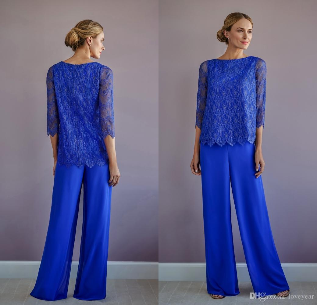 Dois Mãe Pieces Of The Bride Calças ternos azuis Chiffon Lace Jewel Neck mangas compridas Vestido Prom Pant Suit Wear Convidado de Casamento