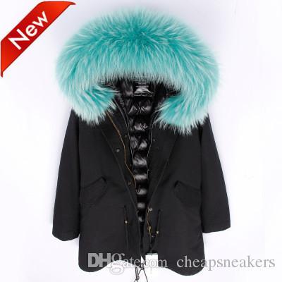 Nouvelle arrivée Veste longue noire pour femmes à capuche avec col amovible en fourrure de grand raton laveur doublure en duvet Suède dunjacka @cheapsneakers