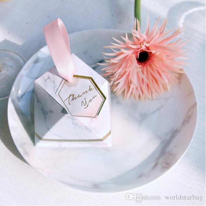 새로운 다이아몬드 대리석 작풍 사탕 상자 결혼식 호의 및 선물 파티 용품 베비 샤워 종이 선물 초콜렛 상자 손님을 위해