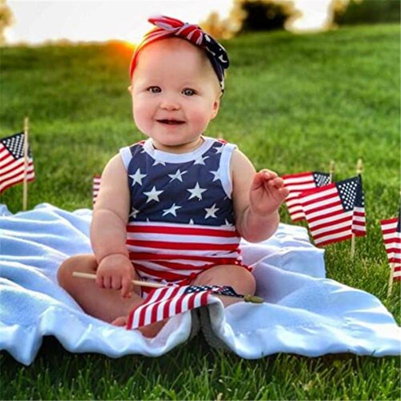 2020 Summer Toddler Clothing Baby Girls Sleeveless USA Independence Days Overall Hairbands infant Two Pieces Set 2020 Striped Jumpsuit D6415