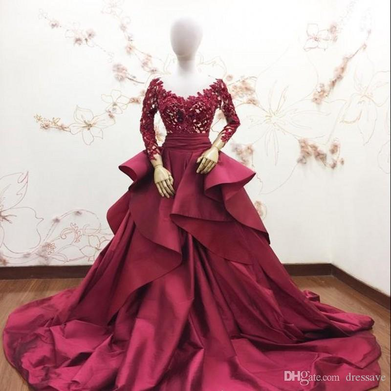 2019 New Design Illusion Bodice Jewel Neck Burgundy Evening Dresses Sexy Ball Gown Prom Gowns Party Wear