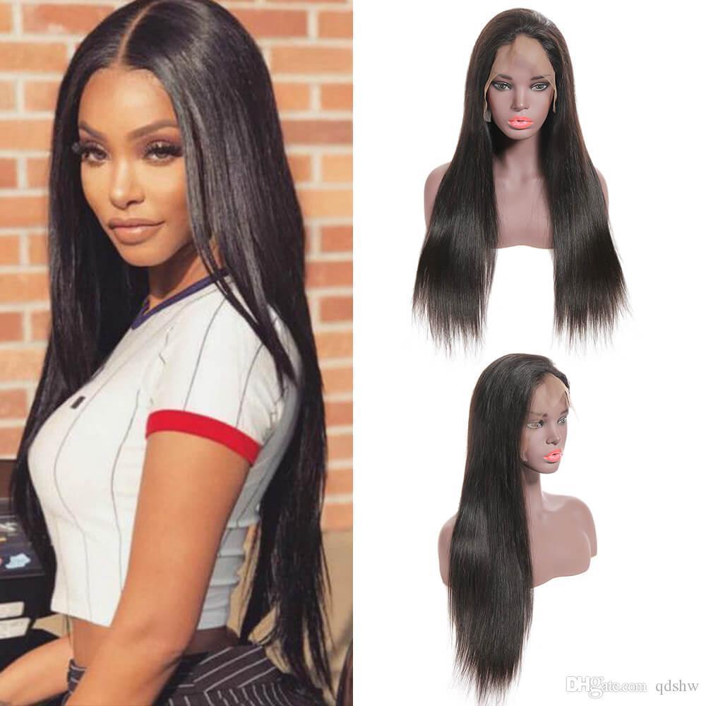 4x4 Dentelle Fermeture Cheveux perruque Pré plumé Silky droite Vierge péruvienne Glueless 4x4 droit dentelle perruques pour les femmes noires