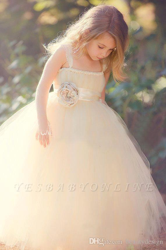 Sweet Tulle Ball Gown Flower Girls' Dresses With 3-D Floral Sash Custom Made Floor Length Kids Formal Wear With Lace Strap