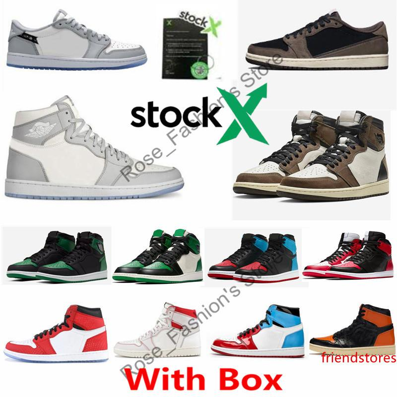 With 1 High OG Wolf Grey Sail Photon Dust White Travis Scotts Basketball shoes 1s Pine Green UNC To Chicago Court Purple Mens Sneakers