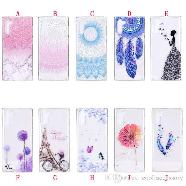 Bling Flower TPU Cas mous pour Samsung Galaxy A80 M40 Note10 Note 10 PRO Butterfly Butterfly Girl Bike Mandala Téléphone Floral Skin Couverture