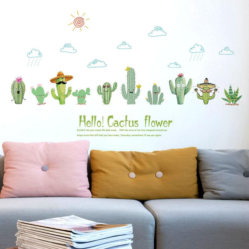 Sk7160 Cactus Bedroom Living Room Glass Window Cabinet Dormitory Classroom Background Decoration Removable Wall Stickers