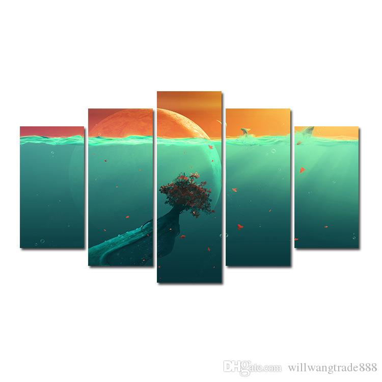 5 Pcs Combinations HD Fantasy Abstract Benthal Green Planet Star Unframed Canvas Painting Wall Decoration Printed Oil Painting poster