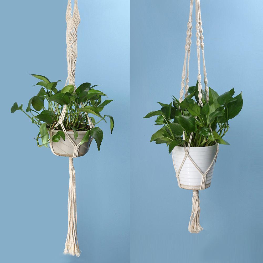 Vintage Knotted Plant Hanger Basket Green Flowerpot Macrame Lifting Rope Plant Hanger Pot Holder Garden Hanging Flower Display D19011702