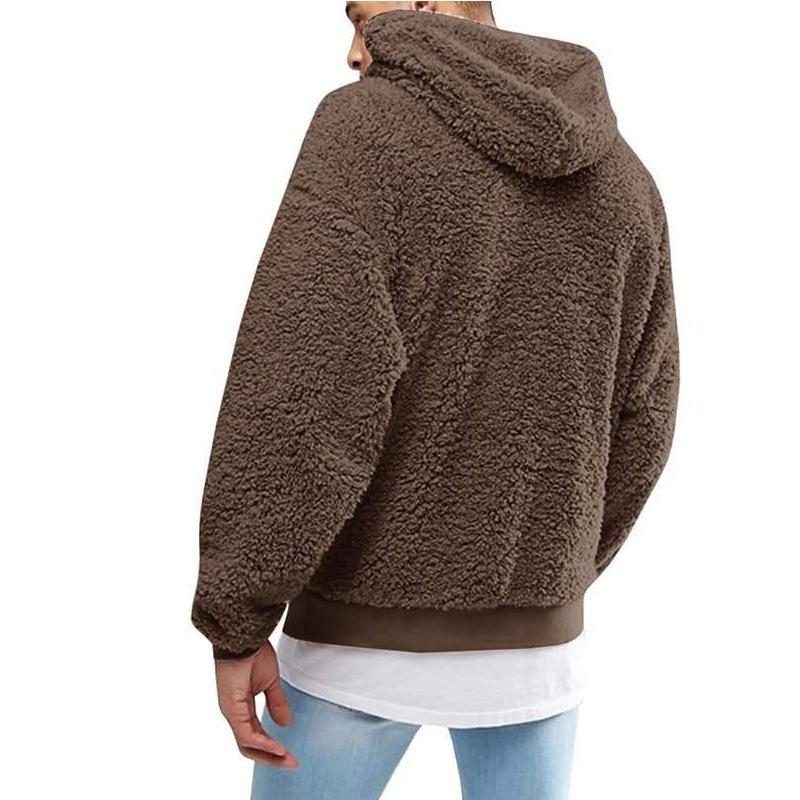 패션 가짜 모피 양털 솜털 까마귀 남성 캐주얼 솔리드 컬러 플러시 후드 스웨터 겨울 봄 긴 소매 후드 코트