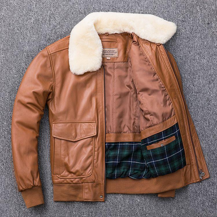 Amarelo G1 piloto da força aérea jaqueta de couro grande Plus Size homens grossos casacos de bombardeiros de algodão com lã de gola ovelhas couro genuíno