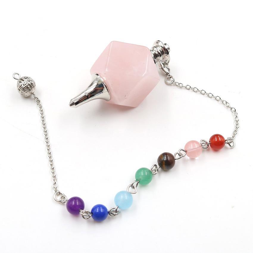 10 piezas geométricas cuarzo rosa péndulo de radiestesia colgante cura Chakra plateado plata del cristal de roca Jewelr
