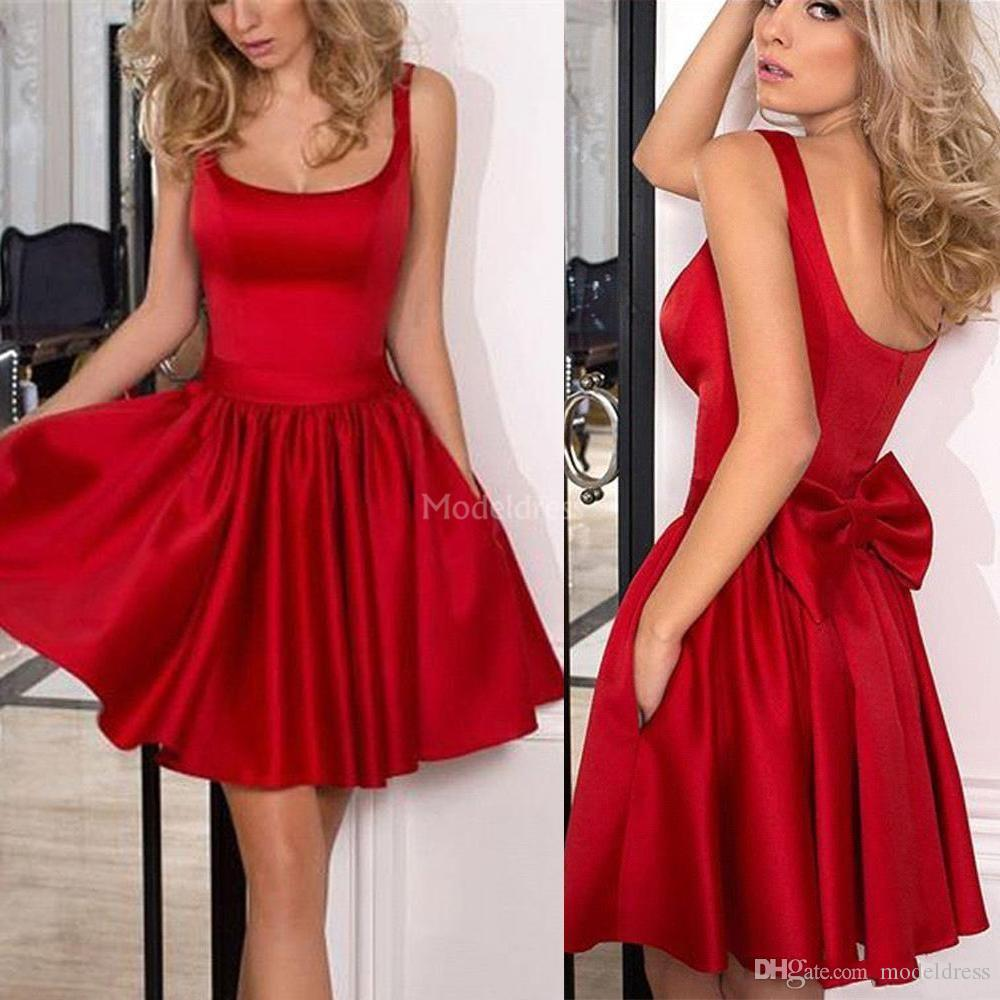 Simple Red Short Prom Dresses Scoop Neck A Line Open Back Bow Cheap Formal Party Evening Gown Solid Cocktail Dresses 2019 Vestidos De Fiesta