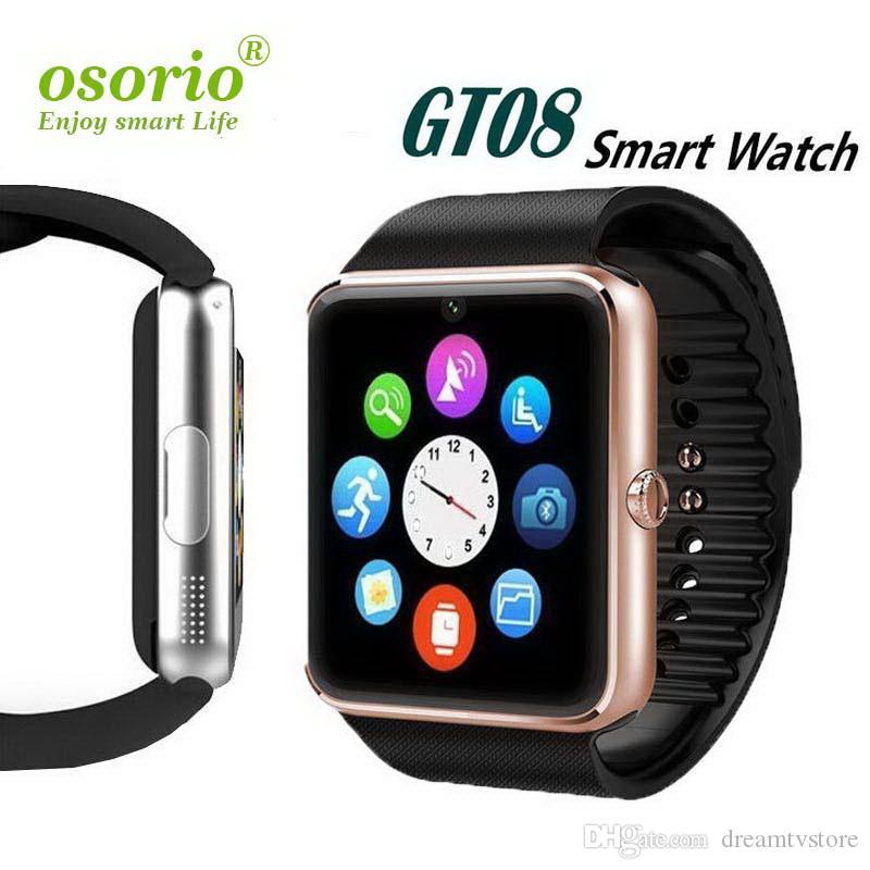 GT08 Smartwatch avec la carte SIM sous Android pour Samsung Smart Watch d'IOS et Apple iPhone Smartphone Bracelet Bluetooth Montres