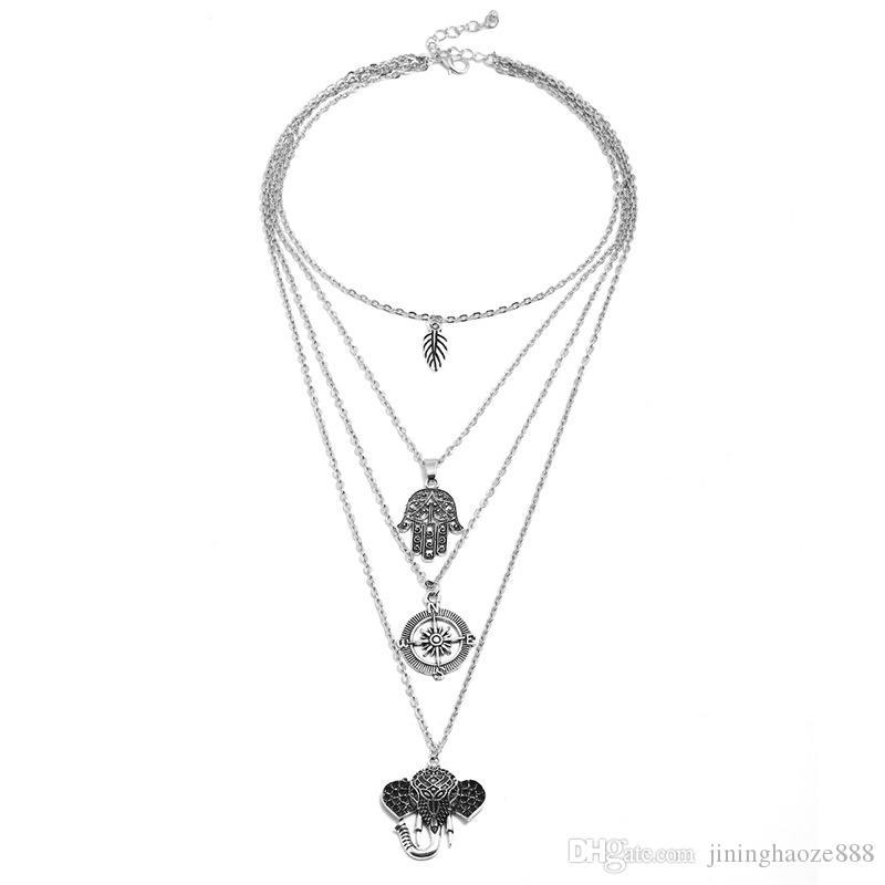 Роскошные свадебные аксессуары ожерелье ювелирных изделий цепи Белый камень Простой Фетиш слон свитер аксессуары Современная мода украшения