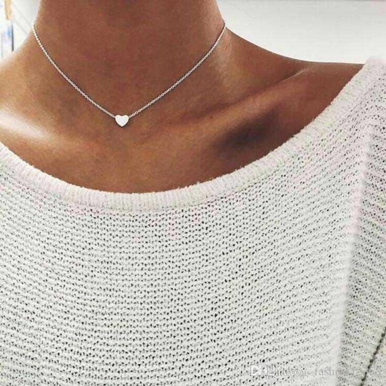 Einfache Exquisite Halskette Halsreifen für Frauen Legierung Silber Rose Gold Herz Schlüsselbein Halsketten Anhänger Modeschmuck Zubehör Großhandel