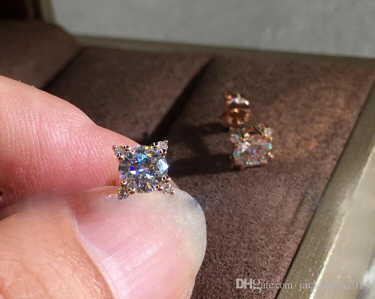 2020 neue Ankunfts-einfache Art und Weise der Schmucksachen 925 Sterlingsilverrose Gold-Fill-Rundschnitt-Weiß Topaz CZ-Diamant-Mädchen-Frauen-Hochzeits-Bolzen-Ohrring