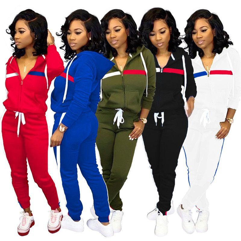 Mulheres 2 Piece Set correndo calças Cardigan aptidão ginásio treino de corrida sportswear leggings jaqueta Roupas de inverno queda outwear bodysuit 1604