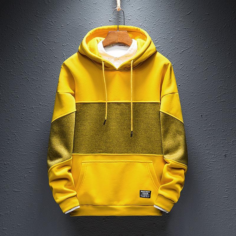 Hip Hop Hoodies para hombre con capucha ropa de abrigo con capucha otoño 2018 Moda de Calle Sudaderas Hombres Negro Amarillo tamaño 4XL S235