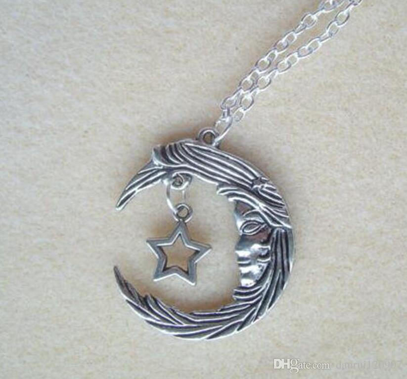 Hot Fashion Vintage Silver Large Moon Face & Star Pendant Charm Long Chain Necklace - - Pagan Gothic Jewelry Gift - 12