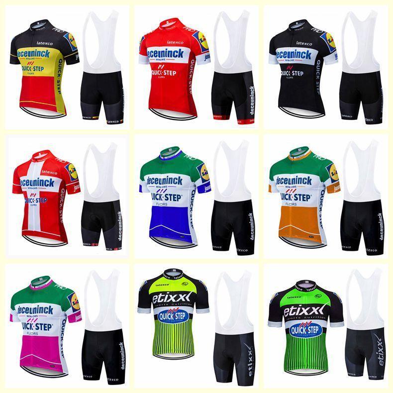 Quick Step Team Велоспорт Короткие рукава Джерси нагрудник шорты наборы 2020 Новый Tops мужчин Спортивная Горный велосипед Одежда