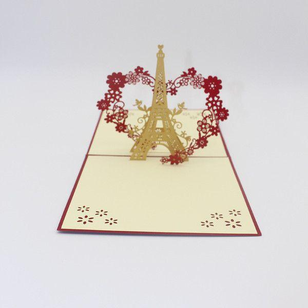 The Eiffel Tower Pop-up Card Origami Architecture Kirigami ... | 600x600