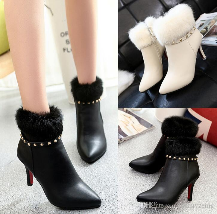 2019 Korean version of the autumn and winter new stiletto women's booties pointed wild side pull rabbit fur rivet Martin boots