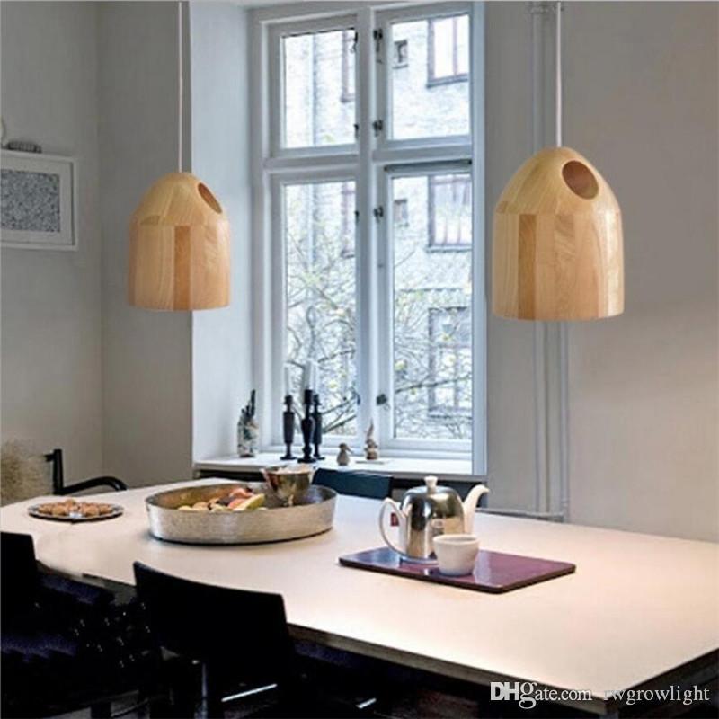 Posmodernas Led luces colgantes de madera maciza modernas lámparas colgantes de bolas nórdica habitación sencilla comedor accesorios de iluminación decorativa