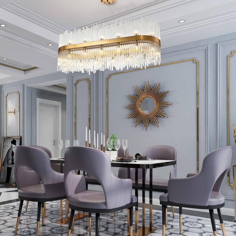 مستطيل الثريا الإضاءة الحديثة لتناول الطعام lampadari غرفة فاخرة الذهب البرونزية الثريات الزجاجية تعليق الأسلاك أدى