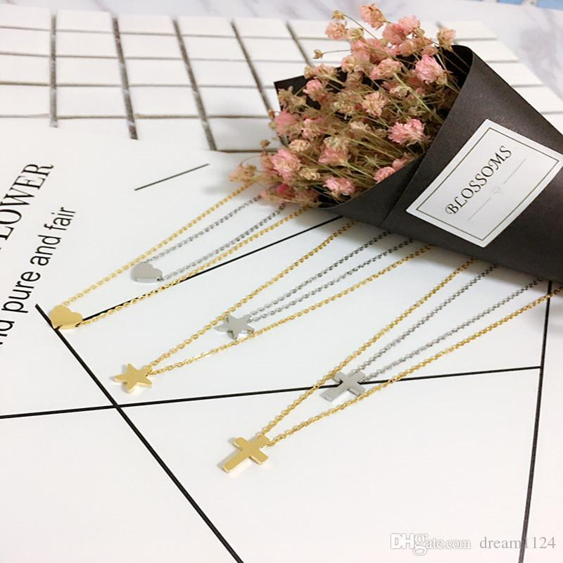 Hot Simple Heart Star Cross 3 Designs Pendant Necklace Gold Silver Plated Stainless Steel Clavicle Necklace For Women Gift Free Shipping