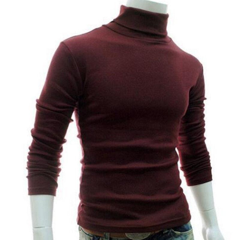 Tortuga manera de la venta caliente de 6 colores para hombre del cuello de rodillo de manga larga sólido ocasional Top Male cuello Camiseta básica Trajes M-2XL MX200509