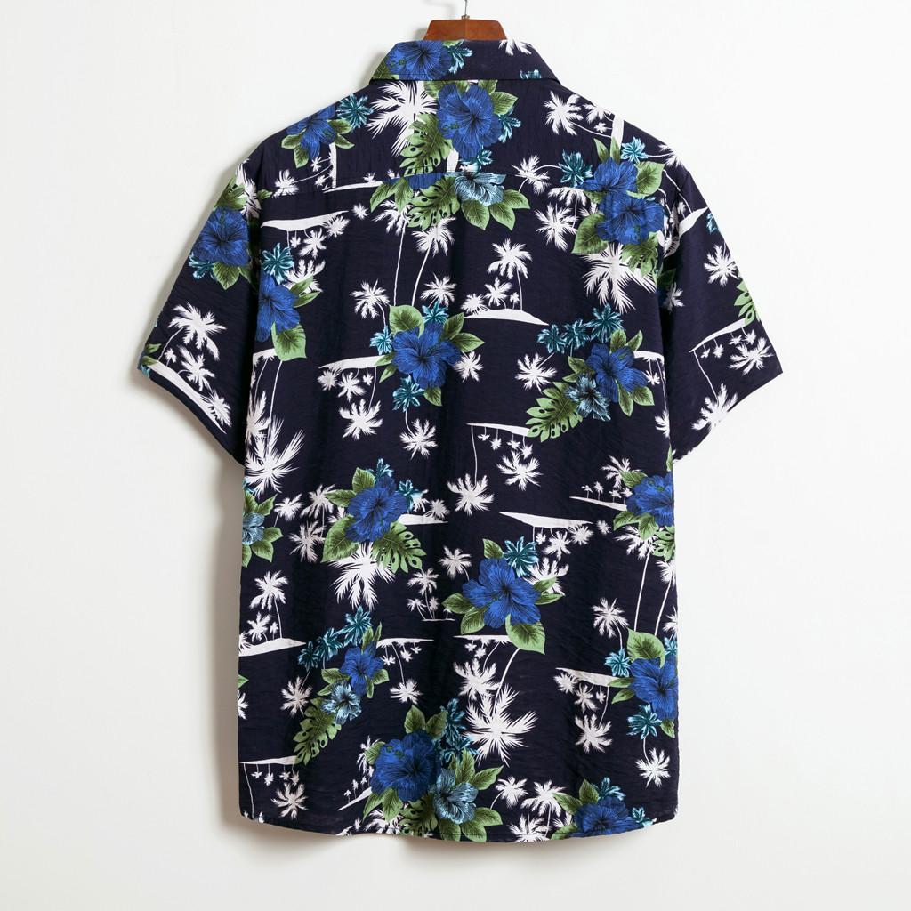 Кнопка Mens многоцветный кусковой Грудь с коротким рукавом Круглый Хем Сыпучие печати рубашки BlouseMen с коротким рукавом рубашки