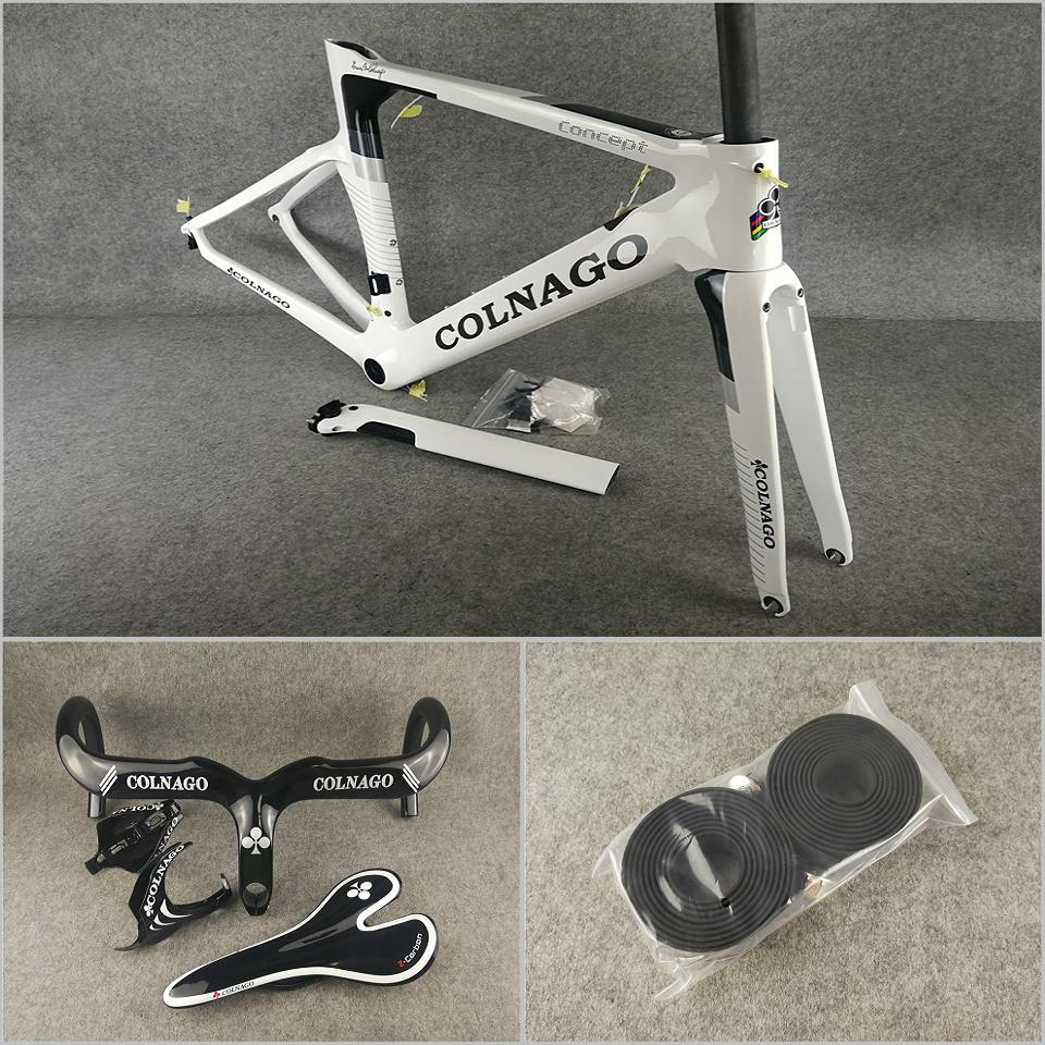 White Colnago Concept carbon road bike Frames Fork Seatpost Headset Clamp Handlebar Saddle Water Bottle cages package for sale free shipping