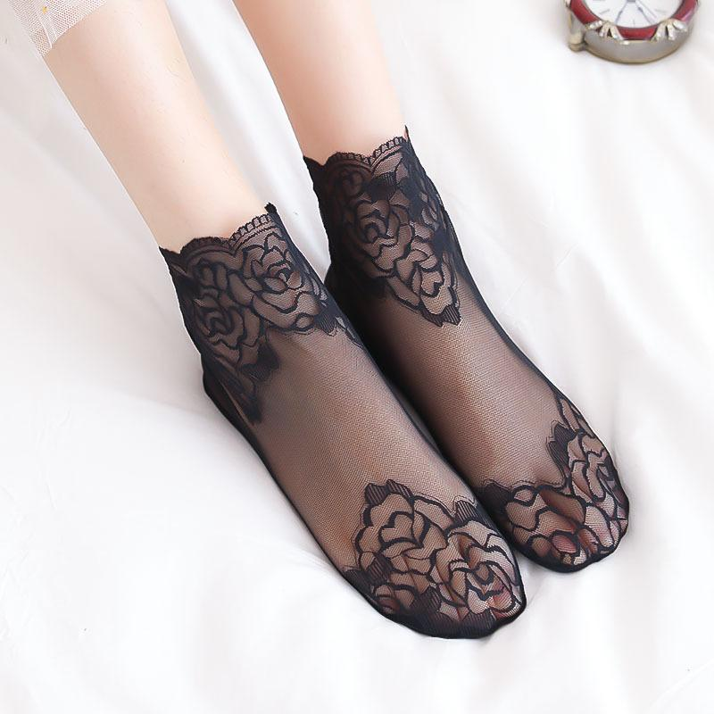 5pairs Transparent Short Lace thin Socks ankle Women female woman ladies Summer girls student Female elastic Soft Cotton breathable hosiery