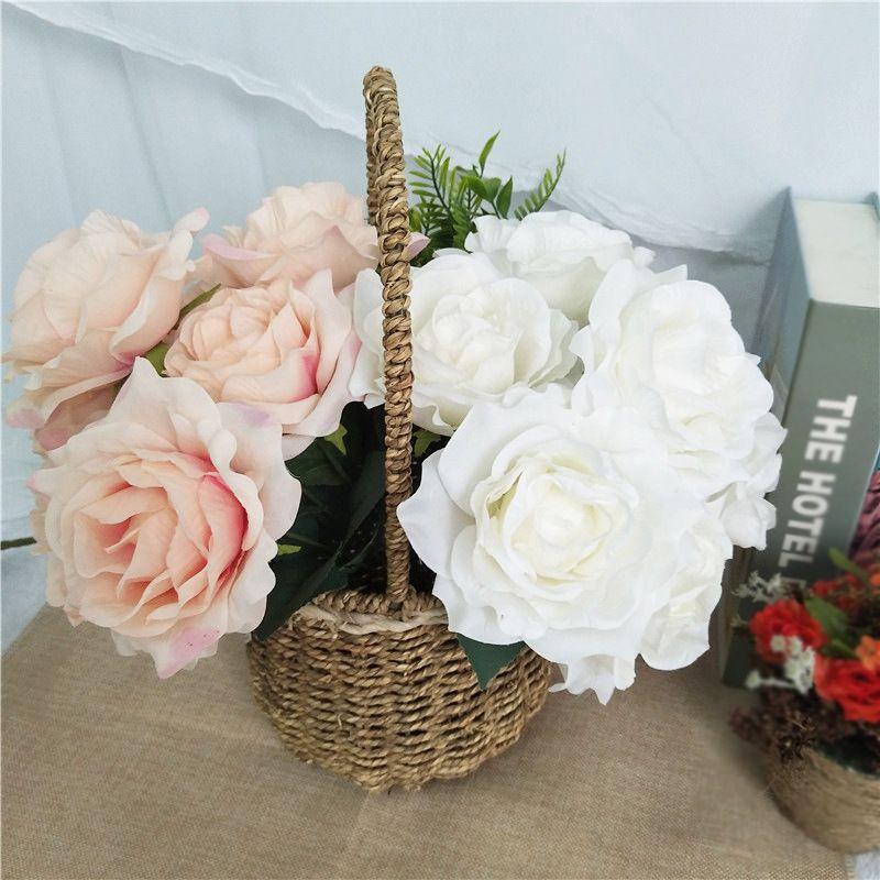 7 Heads Artificial Rose flower Silk Bouquet Home Wedding Bride Holding simulation Flowers Festival Decor Floral silk flower wreath